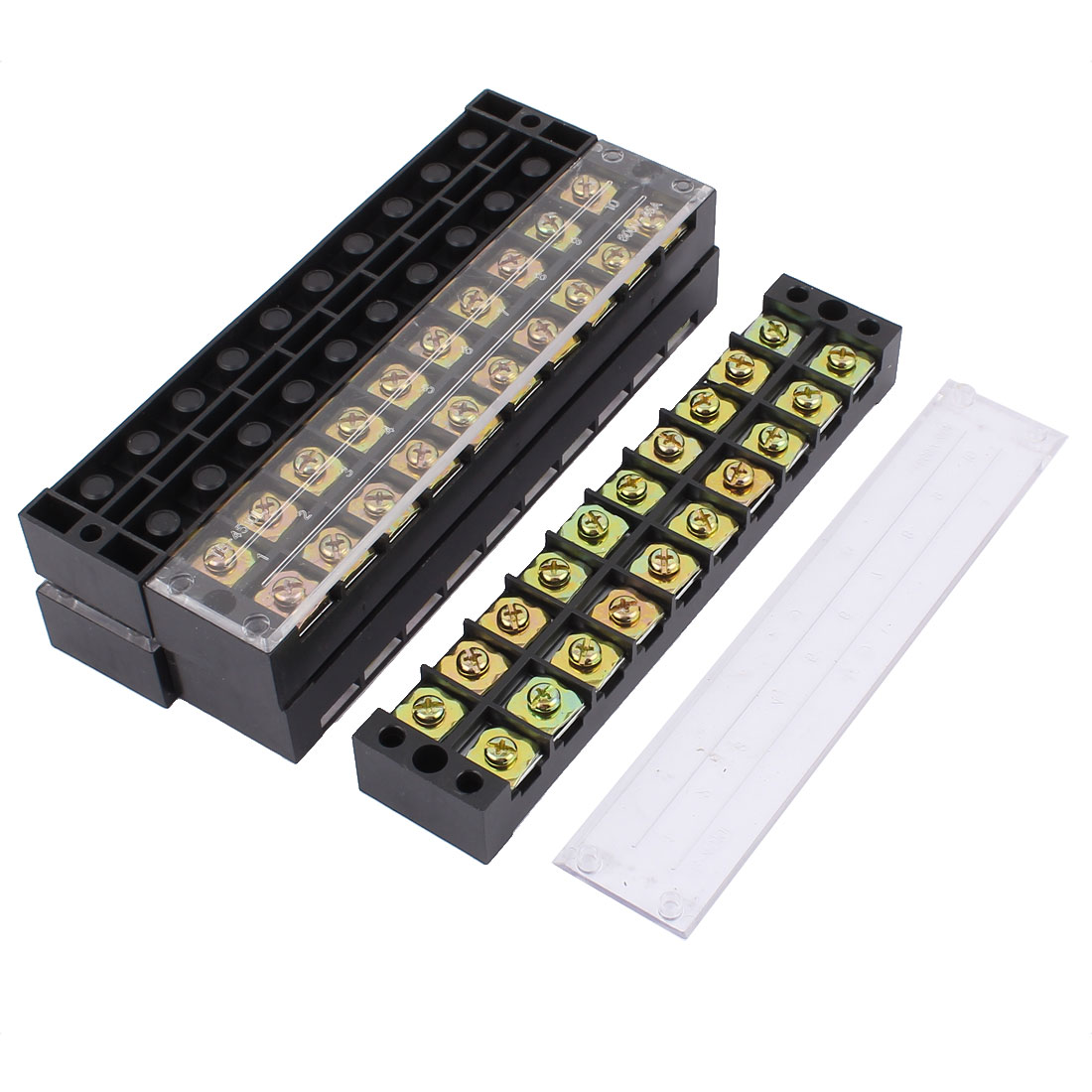 5 Pcs 600V 45A Double Row 10 Position Screw Terminal Barrier Blocks TB4510