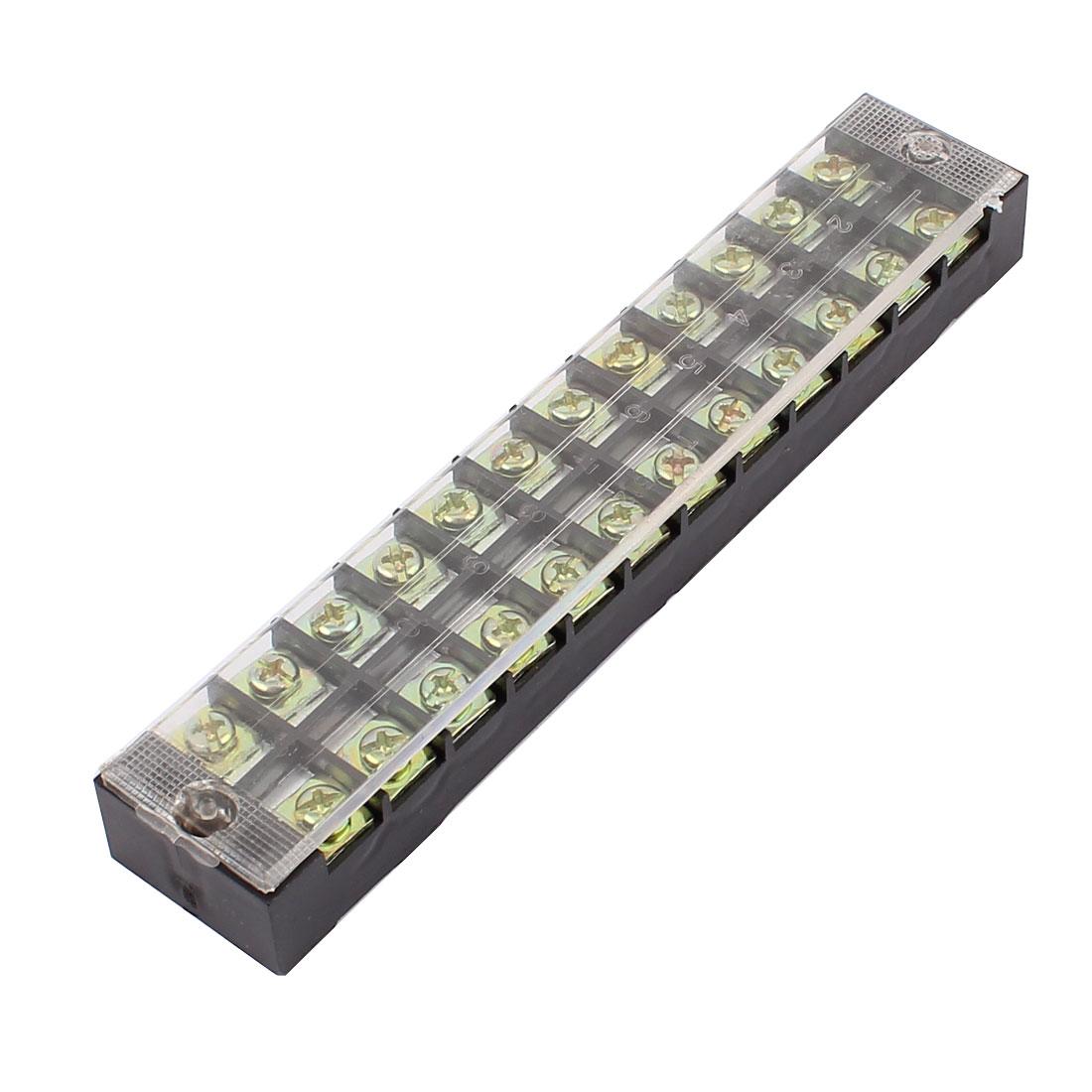 600V 25A Double Row 12 Position Screw Terminal Barrier Blocks TB2512