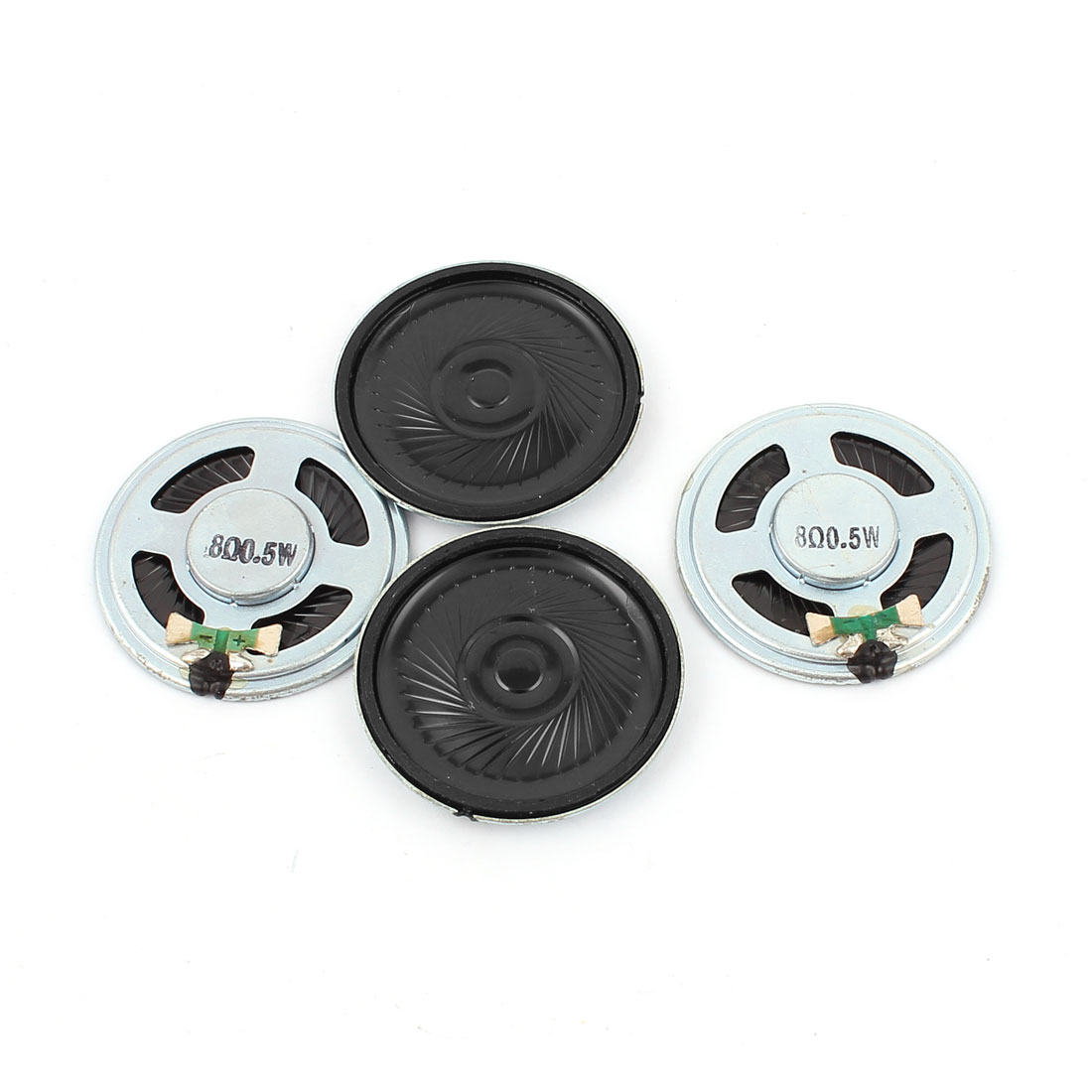 4 Pcs 40mm 8 Ohm 0.5W Metal Shell External Magnetic Speaker Loudspeaker Silver Tone