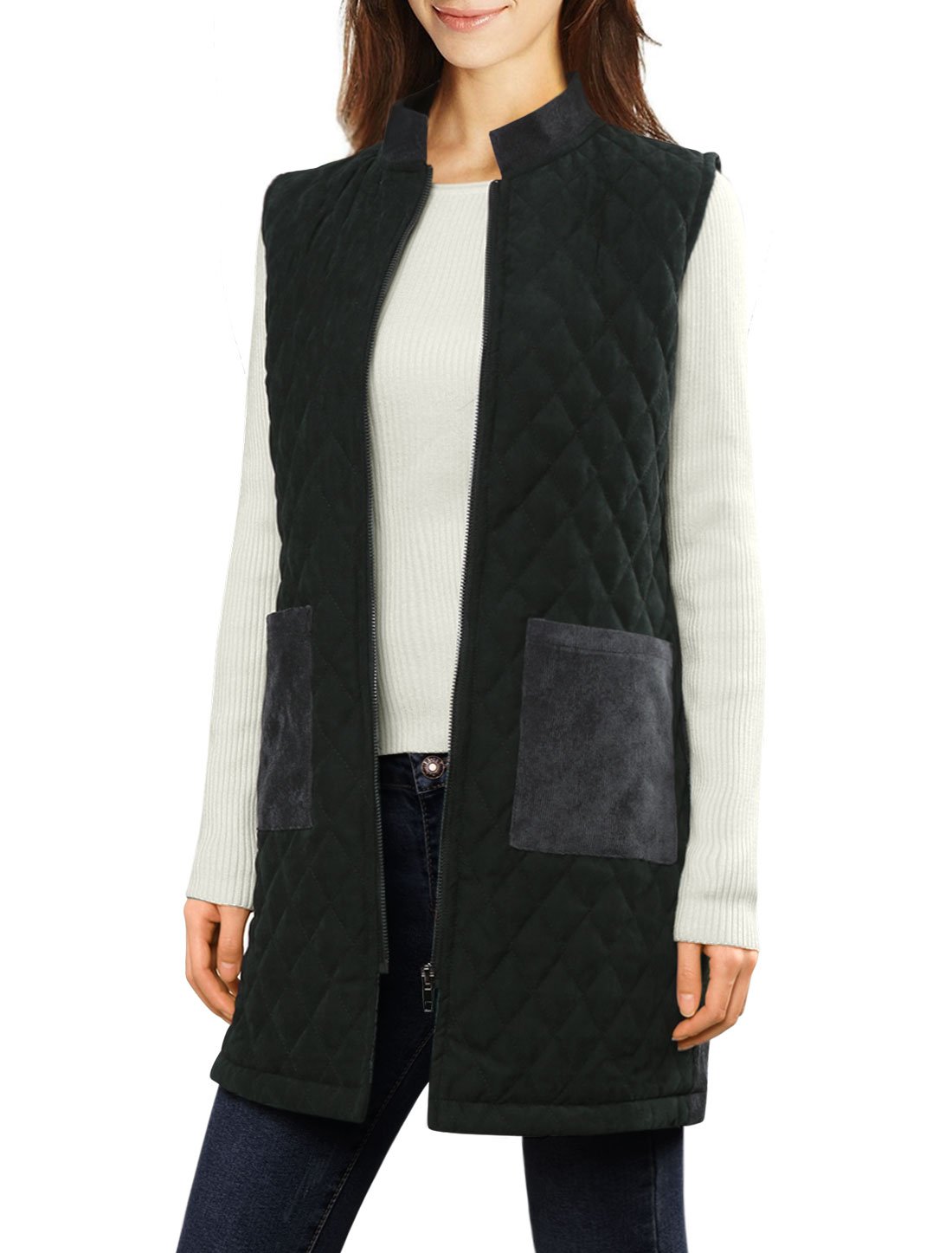 Woman Stand Collar Zip Up Corduroy Quilted Tunic Vest Charcoal Gray L