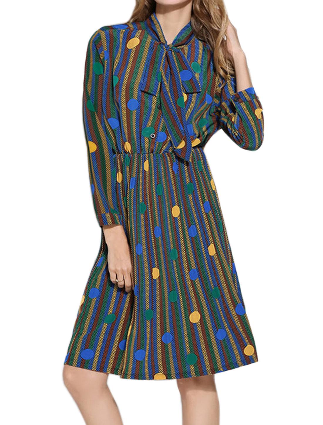 Woman Tie Neck Elastic Waist Polka Dots Stripes Pleated Dress Blue M