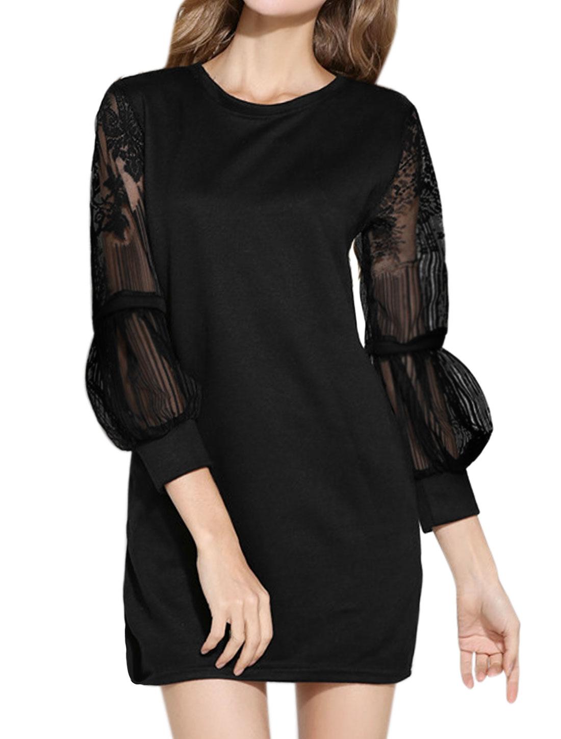 Women Floral Mesh Panel Lantern Sleeves Tunic Top Black S