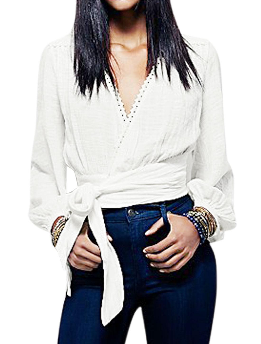 Ladies Long Sleeves Self Tie Front Wrap Crop Top White M