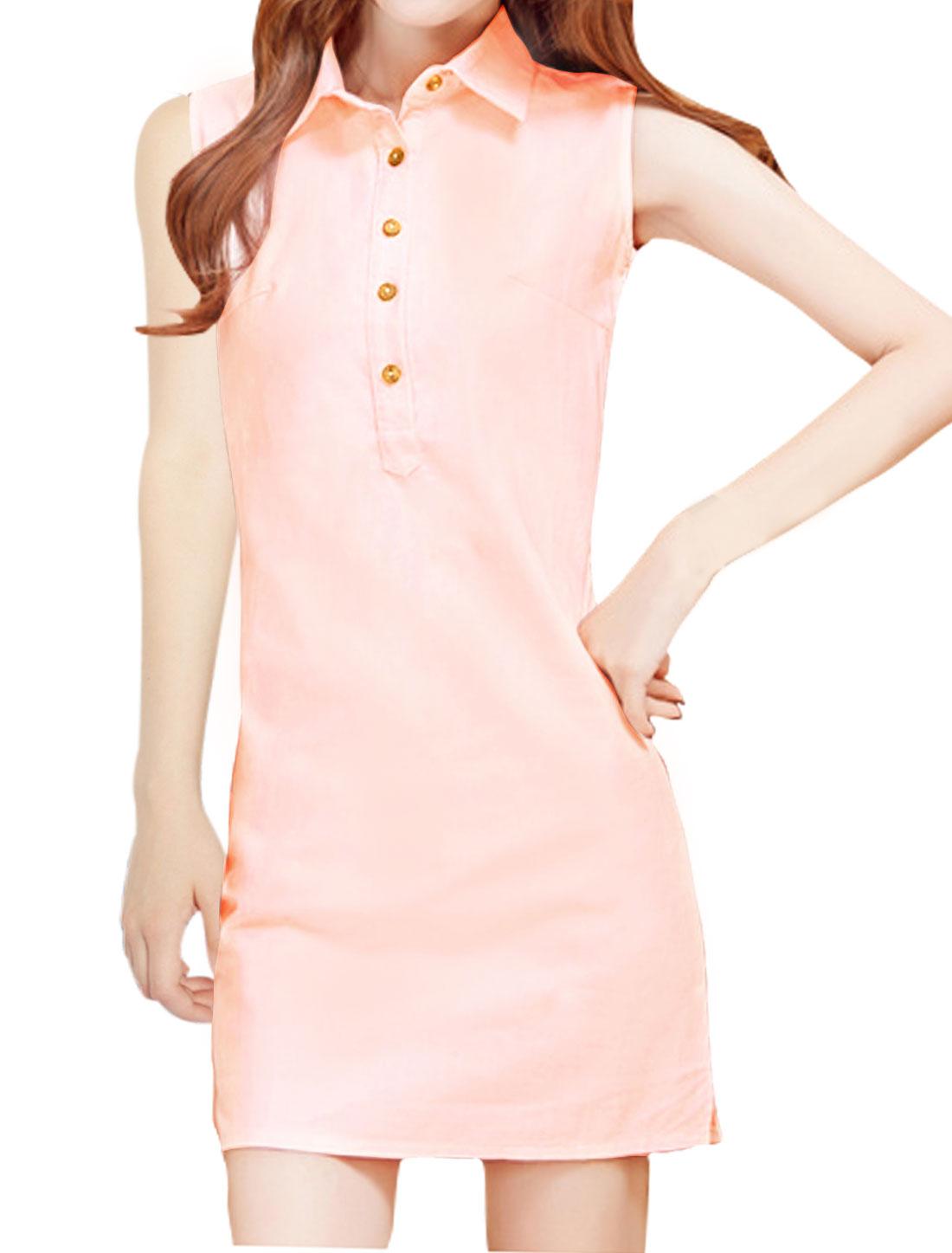 Woman Sleeveless Button Closed Upper Slim Fit Shirt Dress Pink S