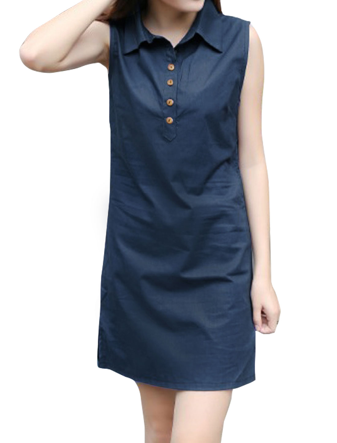 Woman Sleeveless Button Closed Upper Slim Fit Shirt Dress Blue S