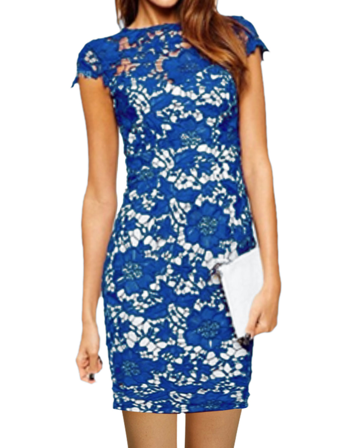 Women Cap Sleeves Split Back Lace Mini Bodycon Dress Blue M