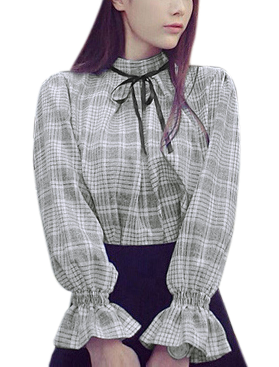 Women Long Sleeves Stand Collar Self Tie Decor Plaids Blouse White S