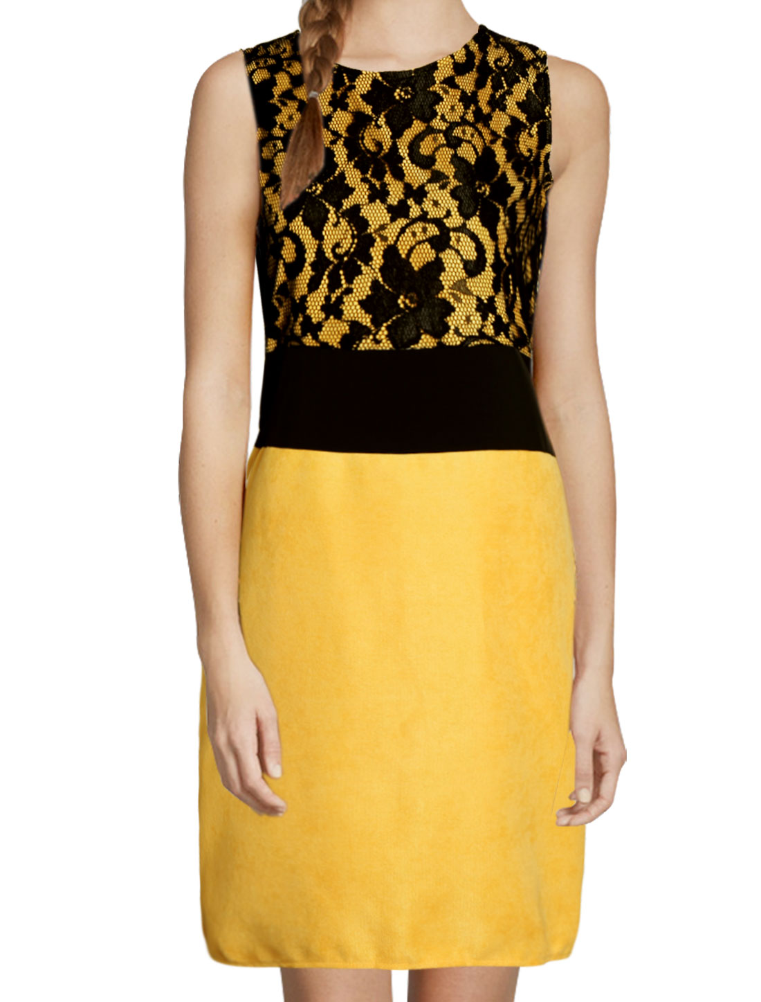 Woman Round Neck Sleeveless Lace Split Back Sheath Dress Yellow M