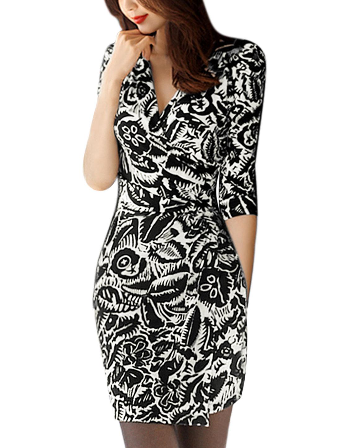 Women Bracelet Sleeves Wrap Novelty Wiggle Dress Black M