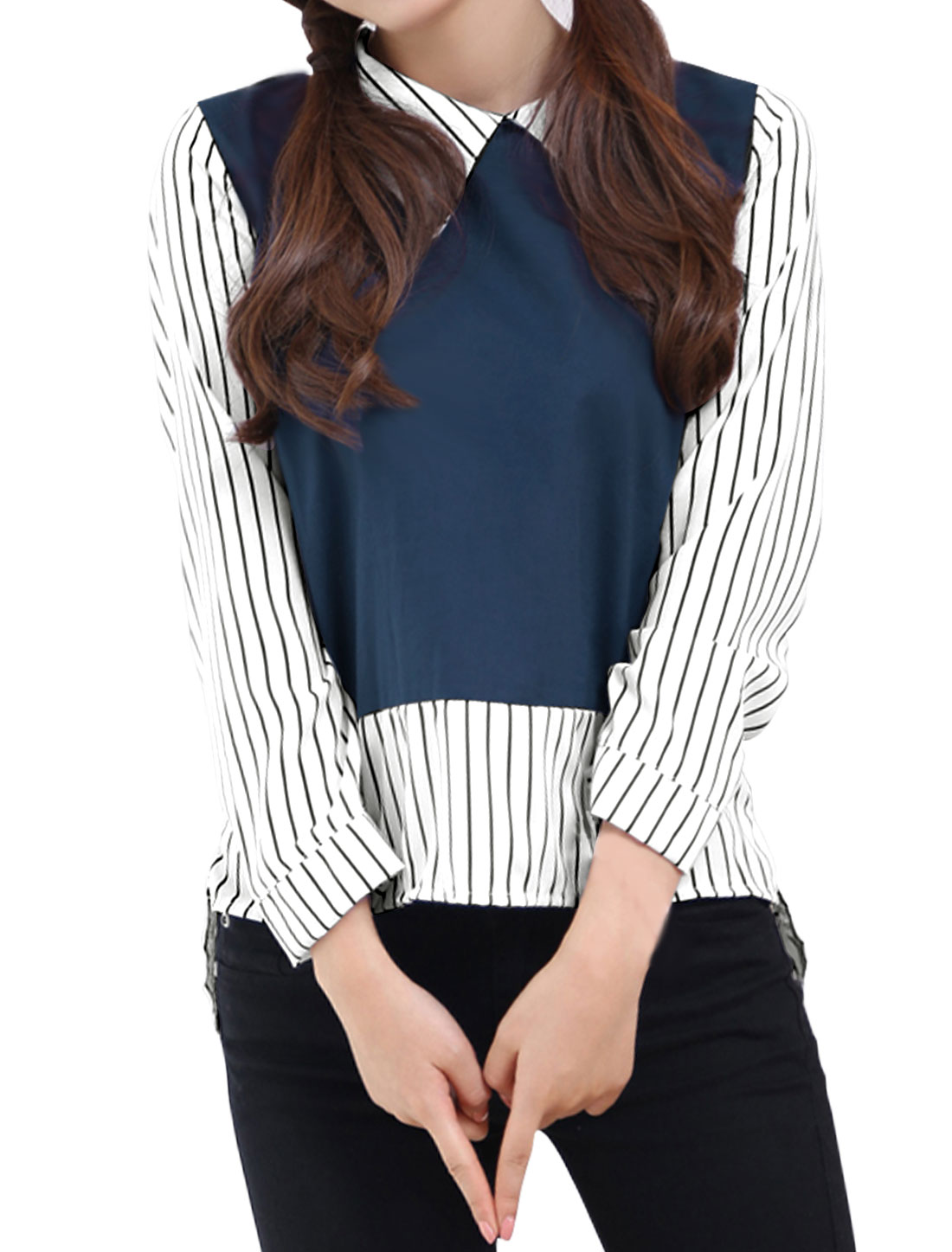 Woman Collared Long Sleeves Stripes Layered Slim Fit Top Blue XS