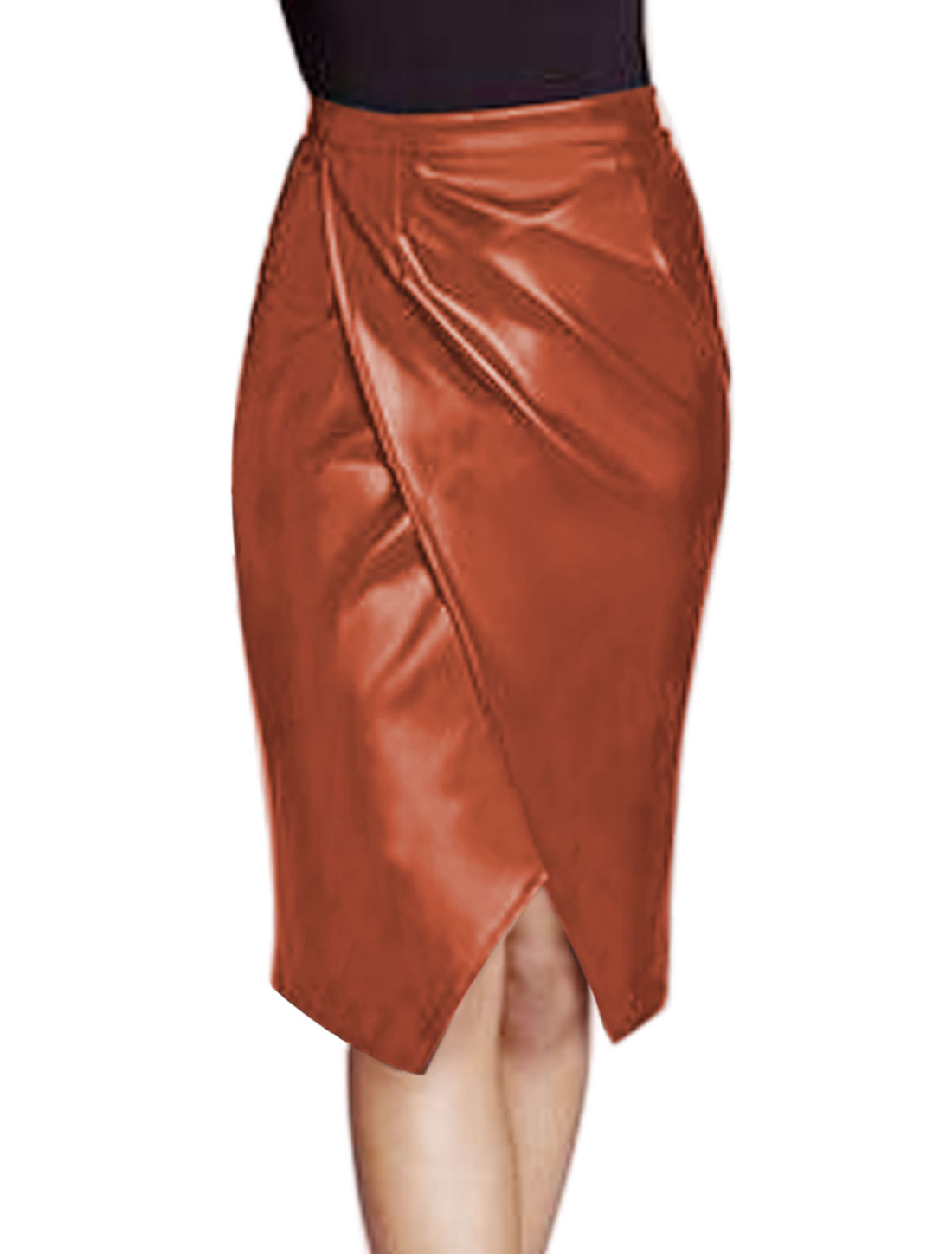 Women Layered Split Front PU Pencil Skirt Brown M