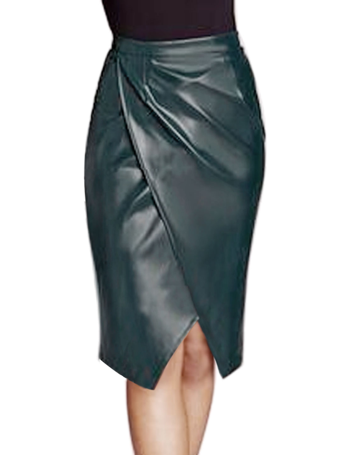 Women Layered Split Front PU Pencil Skirt Blue M