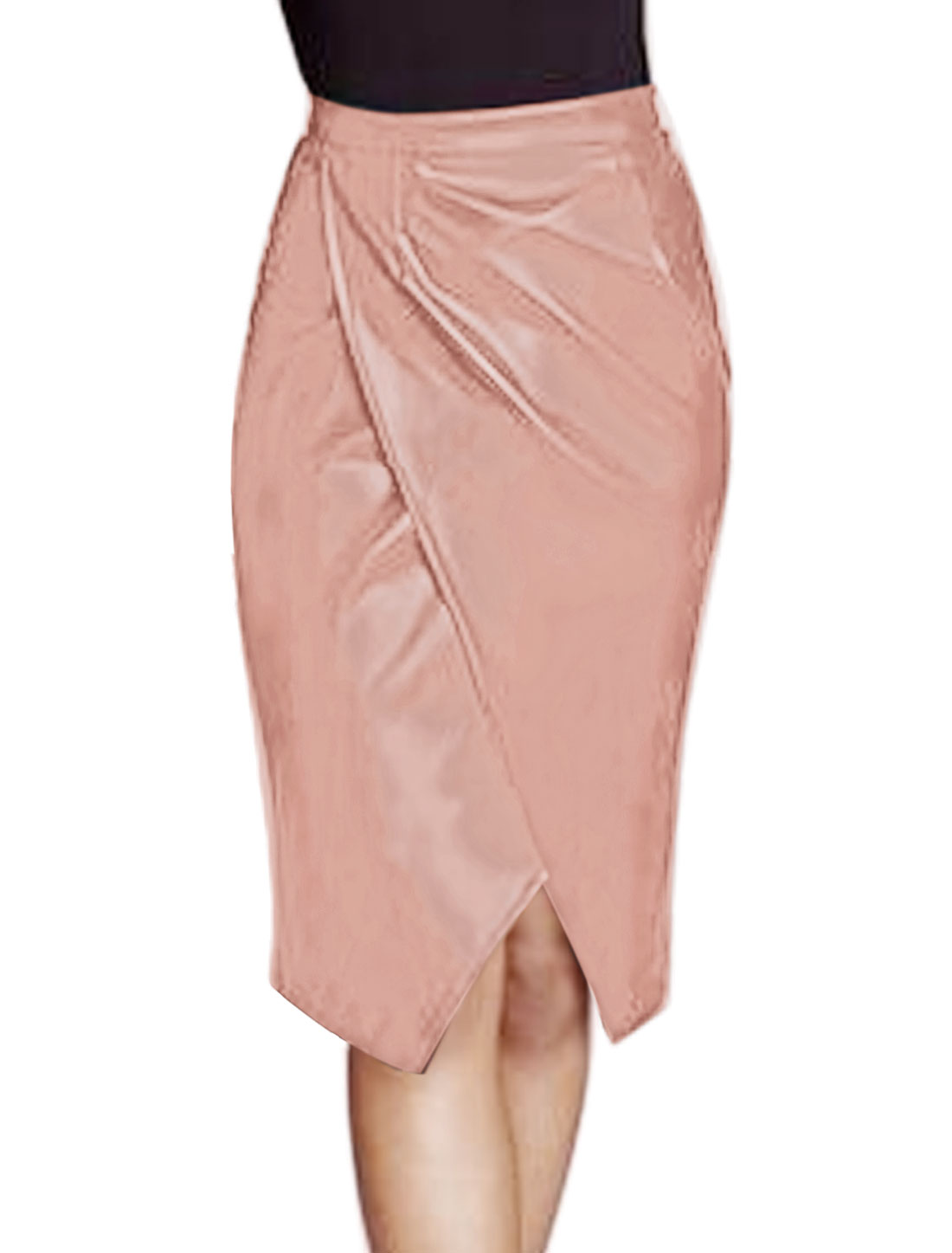 Women Layered Split Front PU Pencil Skirt Pink M