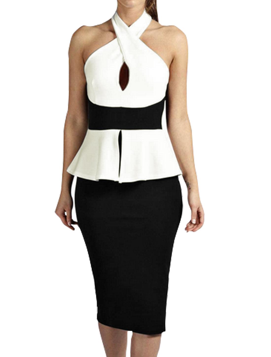 Woman Crossover Halter Neck Layered Split Back Peplum Dress Black M