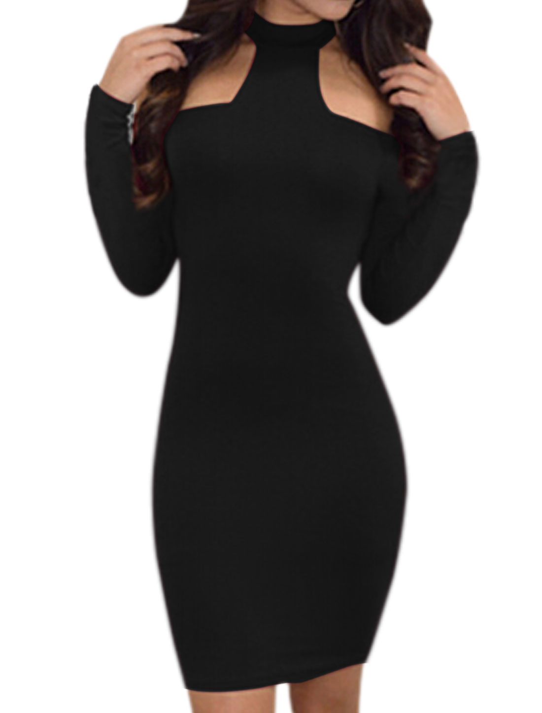 Ladies Halter Neck Cut Out Shoulder Wiggle Dress Black M