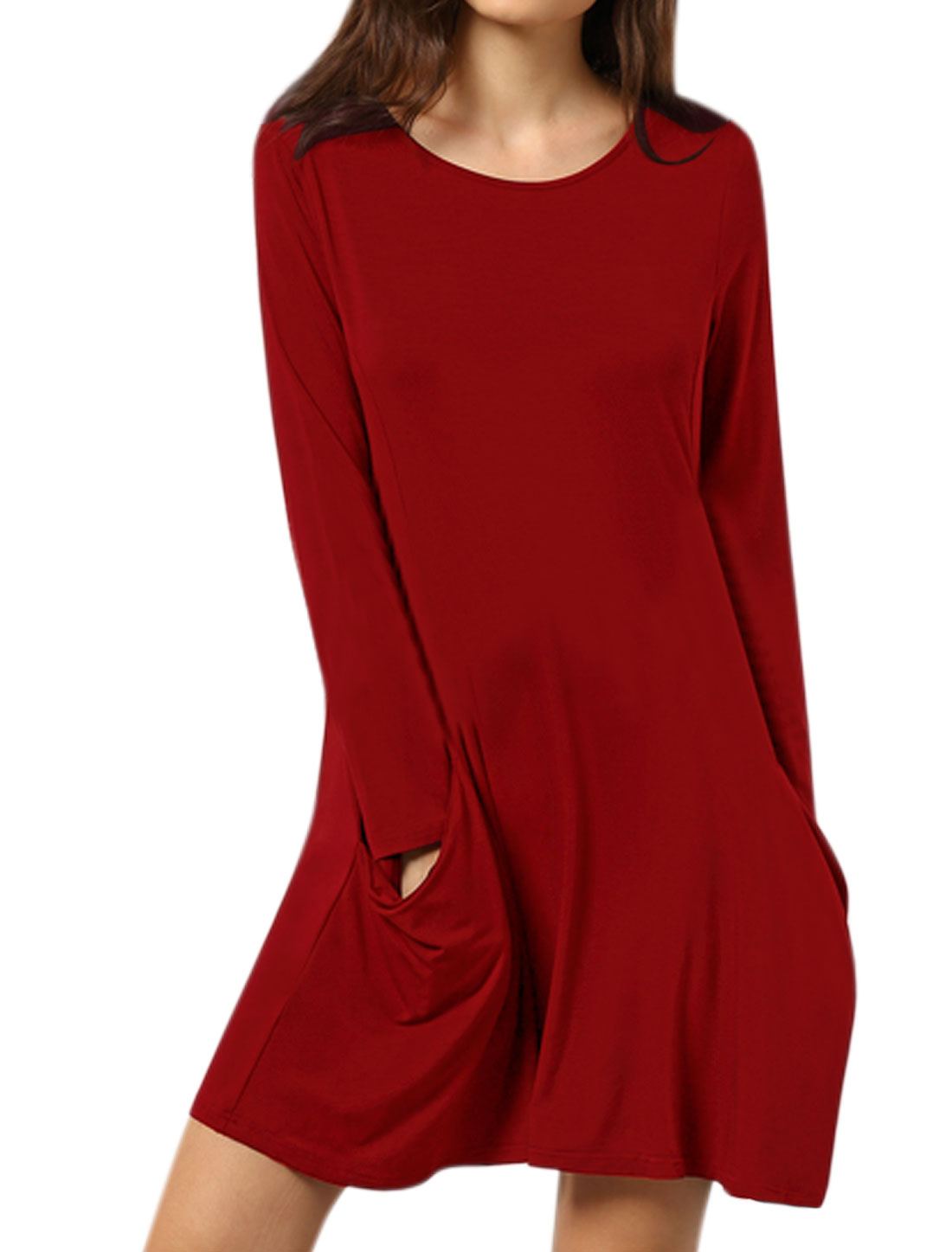 Women Round Neck Long Sleeves Funnel Pockets A Line Dress Red M