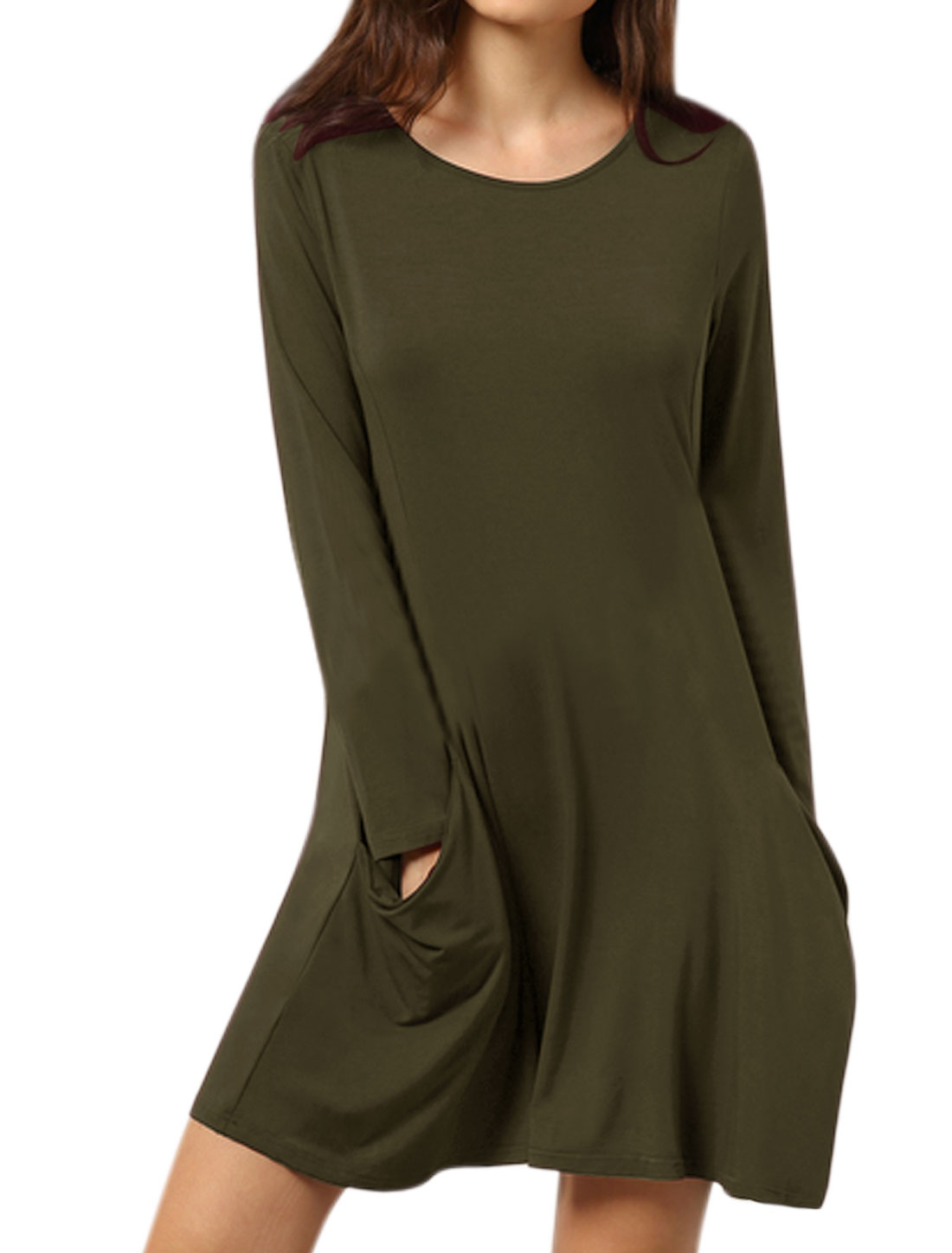 Women Round Neck Long Sleeves Funnel Pockets A Line Dress Green M