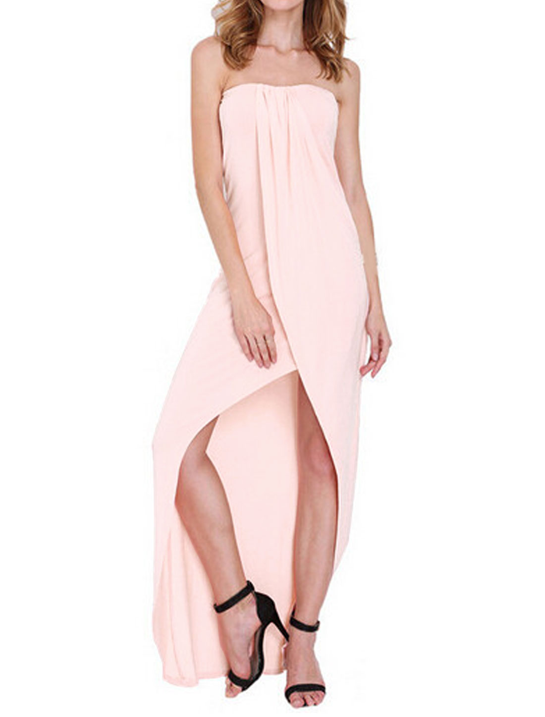 Woman Off Shoulder Layered Asymmetric Hem Strapless Dress Pink XS