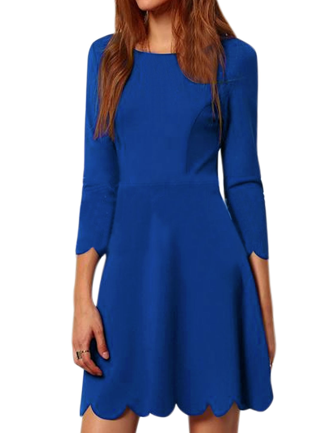 Women 3/4 Sleeves Scalloped Trim Fit and Flare Dress Blue M