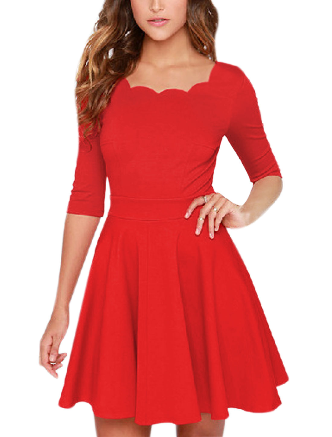 Woman Scalloped Neckline 1/2 Sleeves Tunic Dress Red M