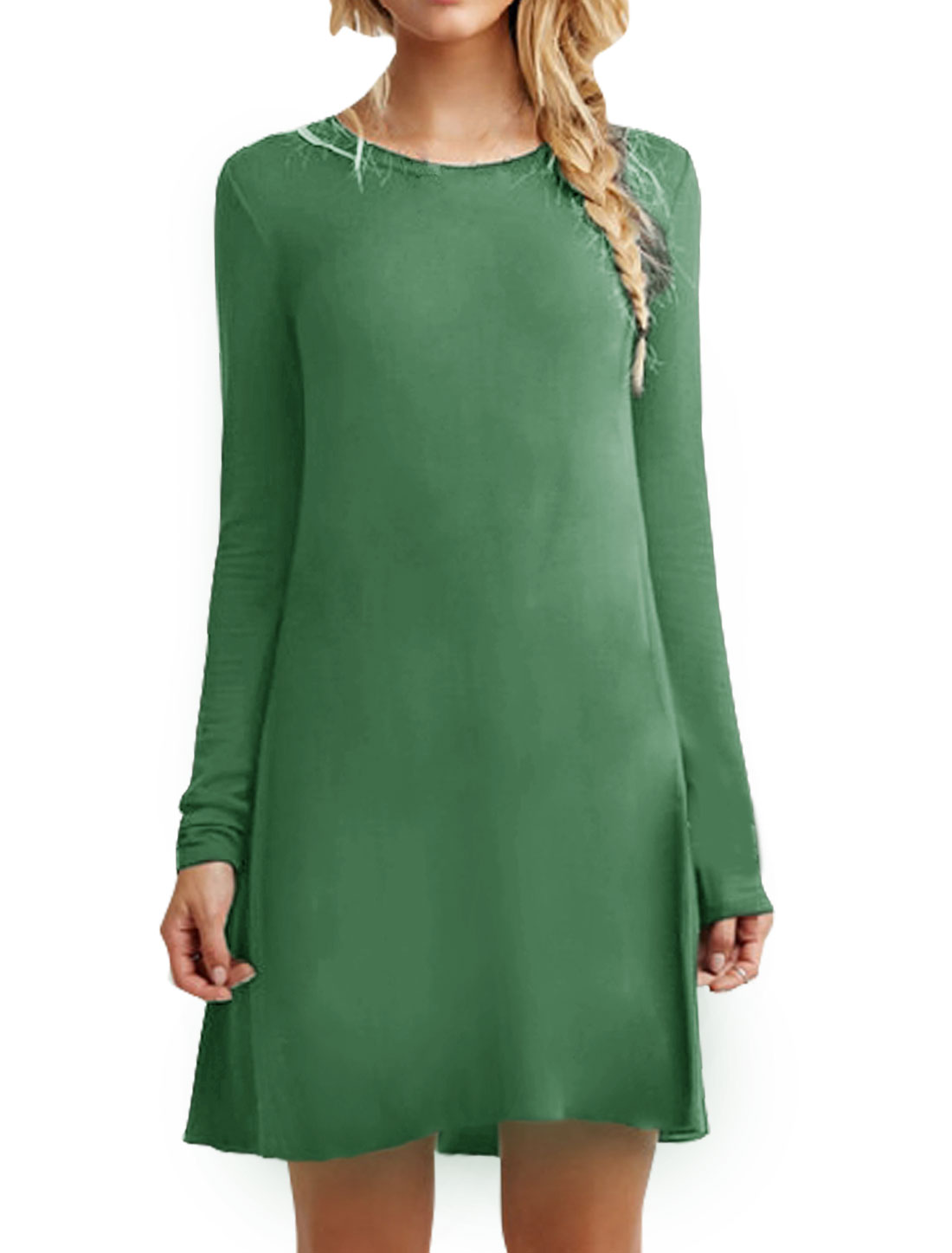 Ladies Round Neck Long Sleeves Loose Tunic Dress Green L