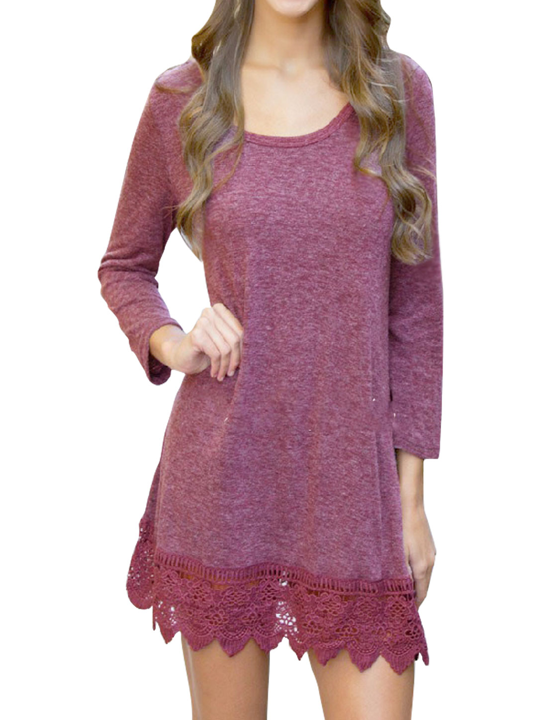 Woman Scoop Neck Long Sleeves Crochet Hem Tunic Top Purple S