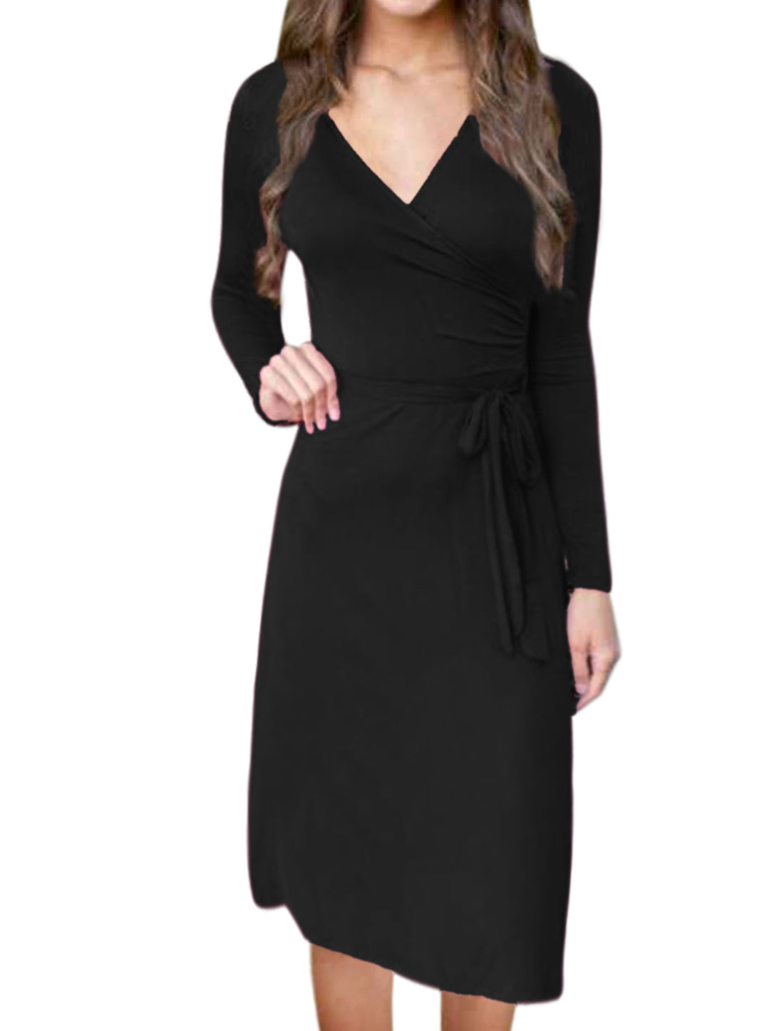 Women Crossover V Neck Waist String Midi Wrap Dress Black M