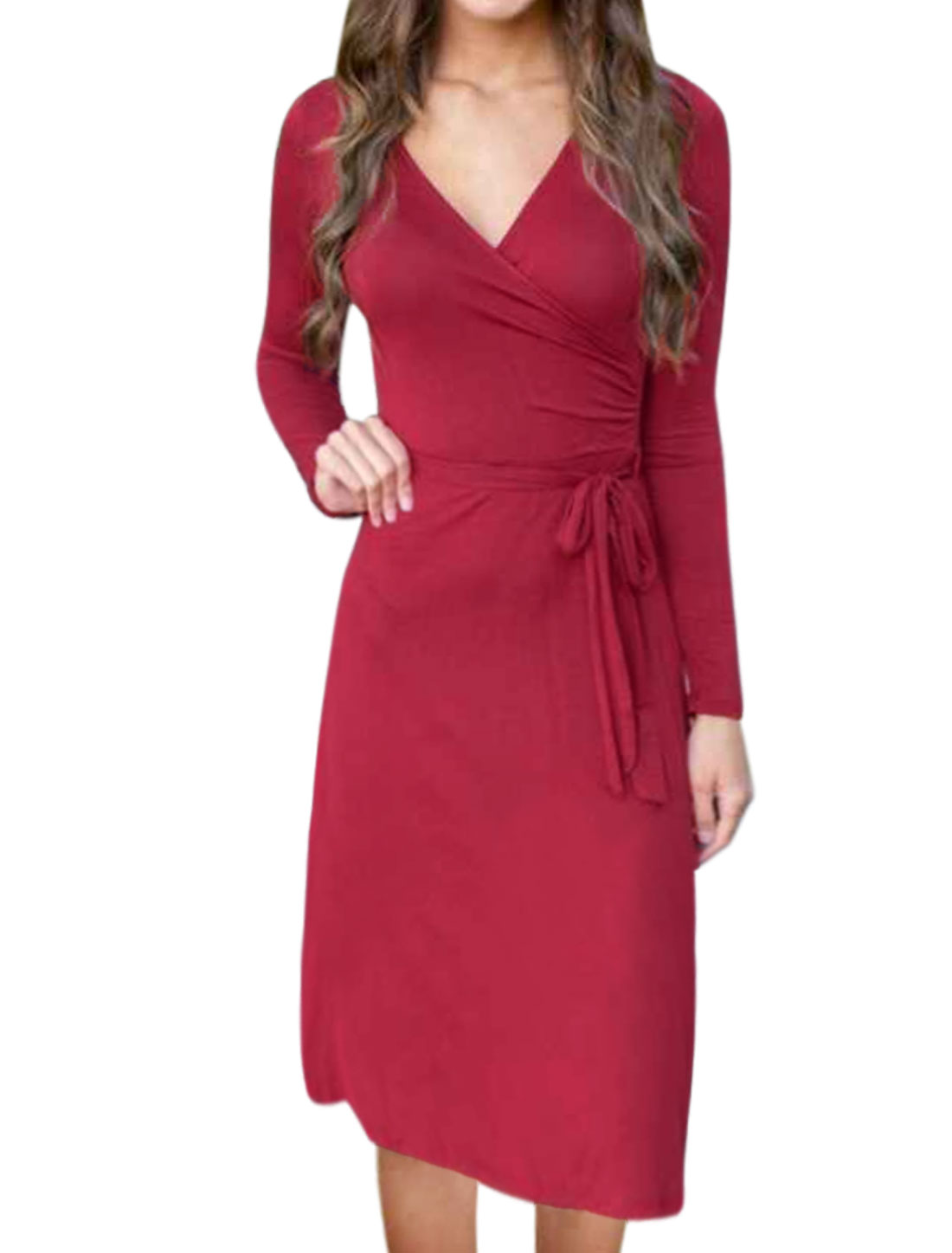 Women Crossover V Neck Waist String Midi Wrap Dress Red M