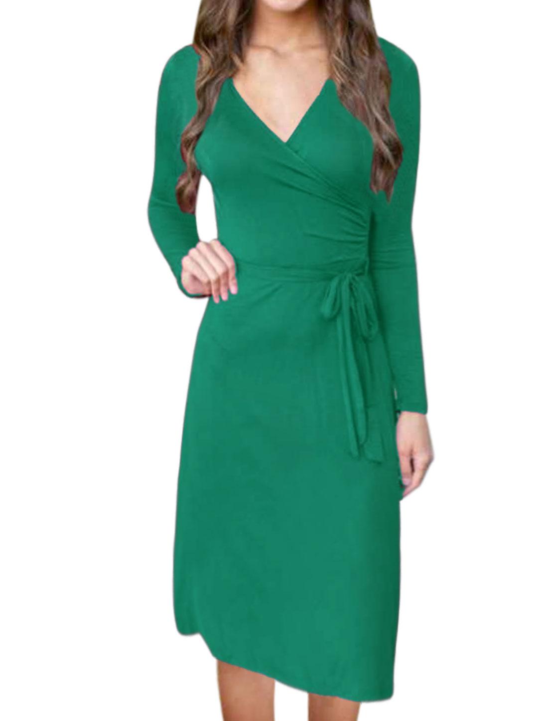 Women Crossover V Neck Waist String Midi Wrap Dress Green M