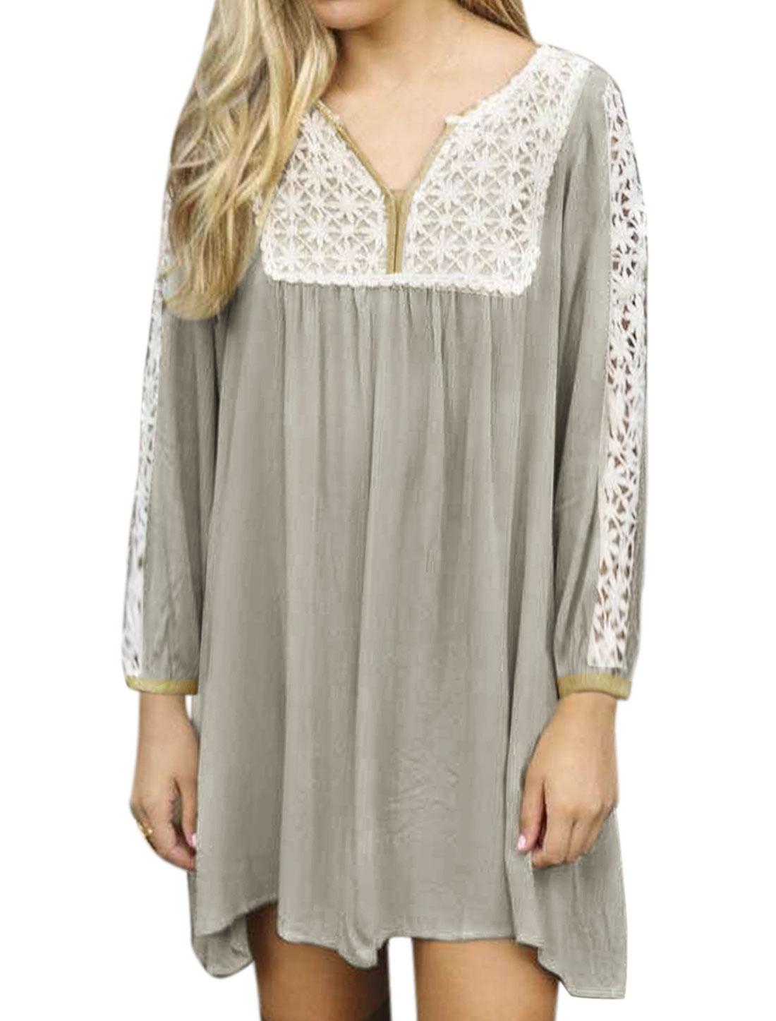 Women Split Neck Crochet Semi Sheer Loose Tunic Dress Gray M