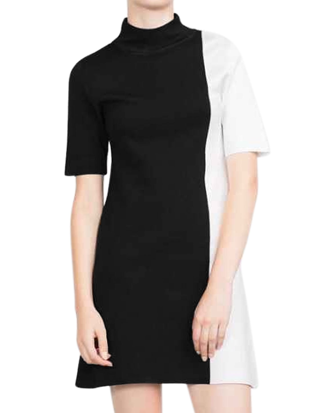 Women Short Sleeves Mock Neck Color Block Tunic Dress Black M