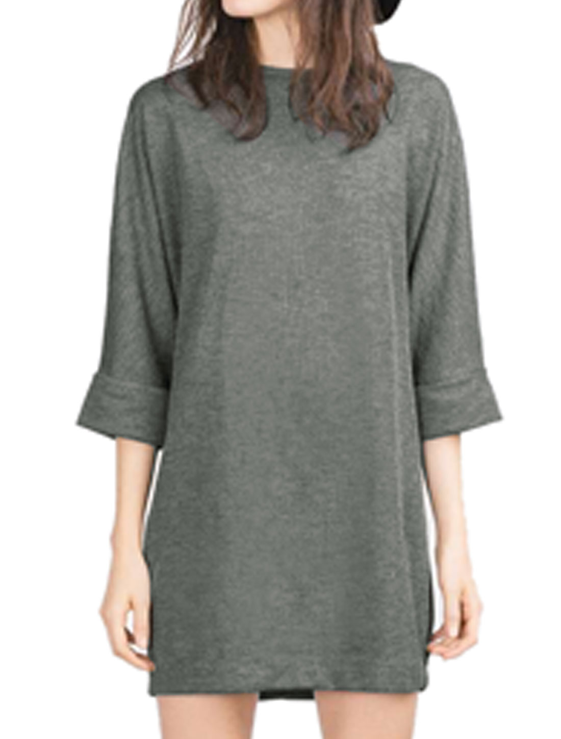 Women Batwing Sleeves Crew Neck Mini Tunic Dress Gray XS