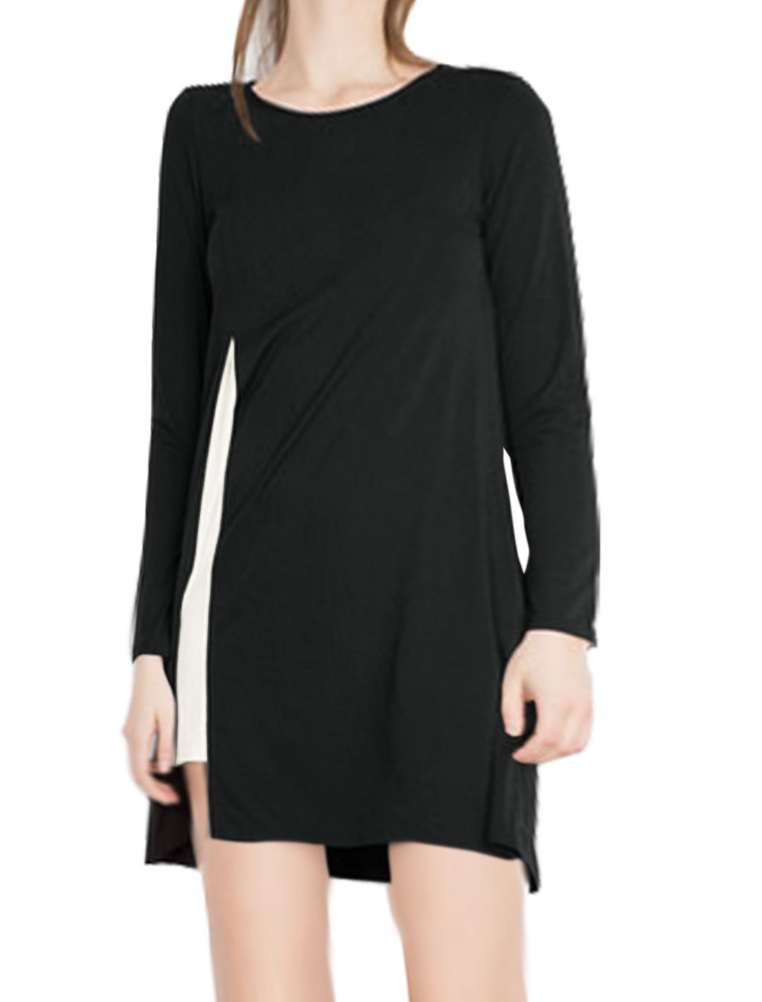Ladies Long Sleeves Contrast Color Straight Dress Black M