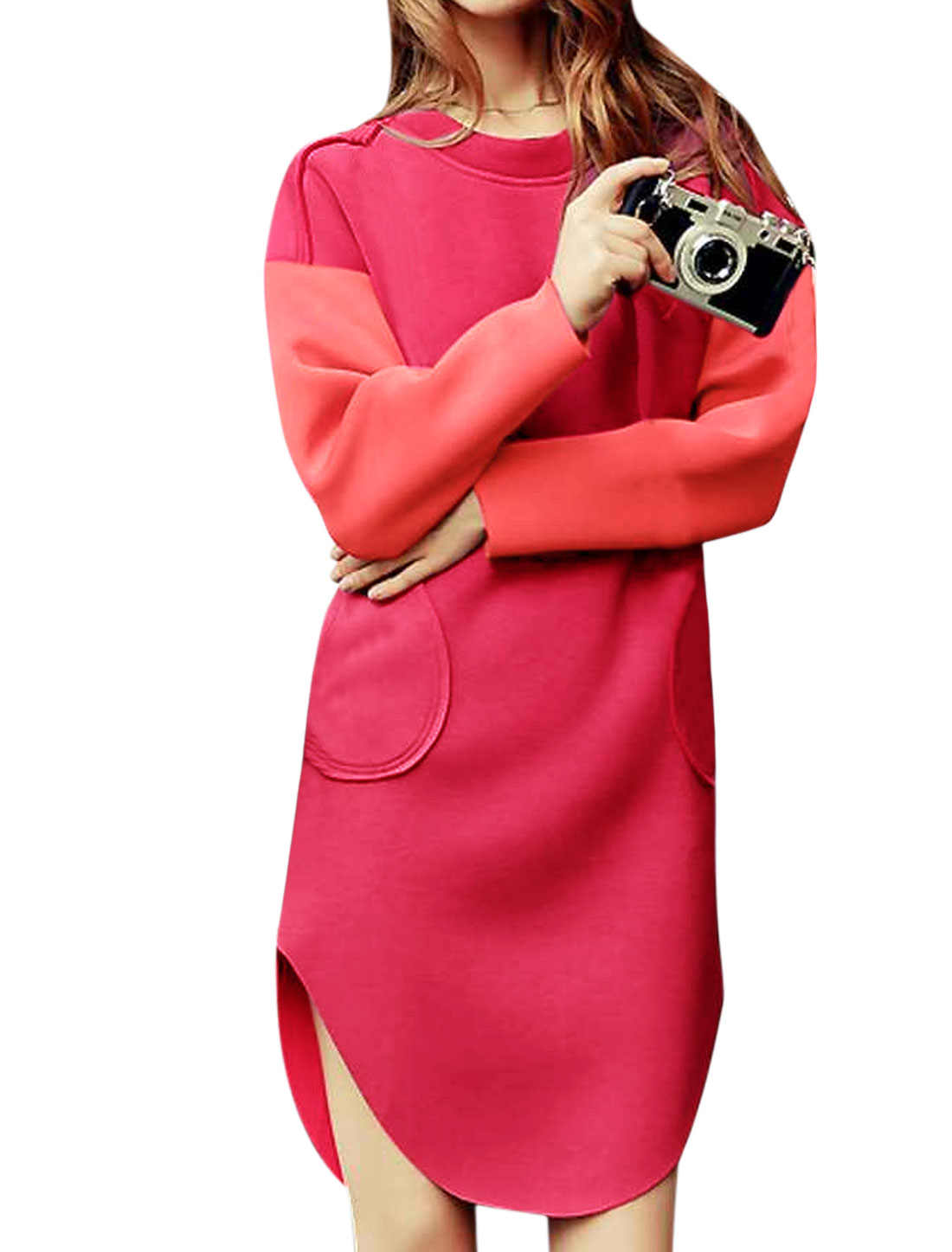 Women Drop Shoulder Round Hem Color Block Tunic Dress Red M