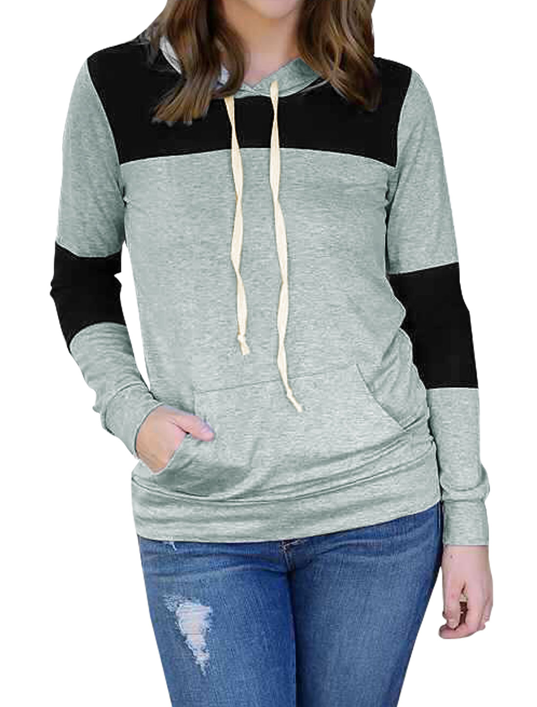 Women Kangaroo Pocket Color Block Drawstring Hoodie Gray M