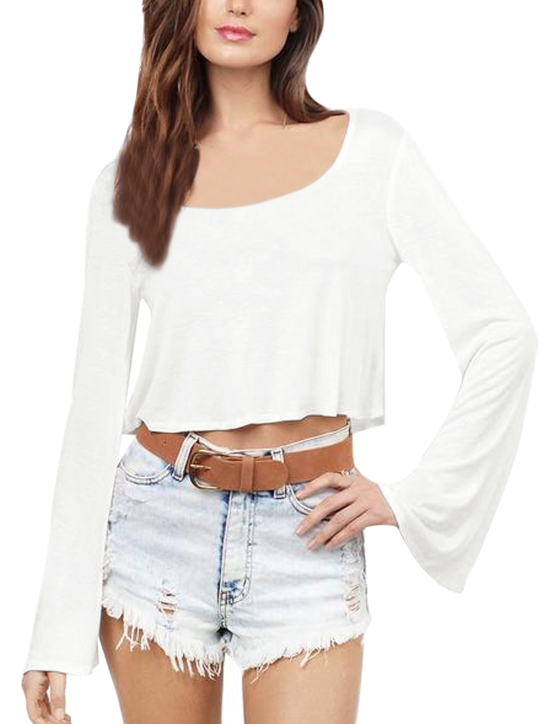 Women Scoop Neck Trumpet Sleeves Crop Top White M