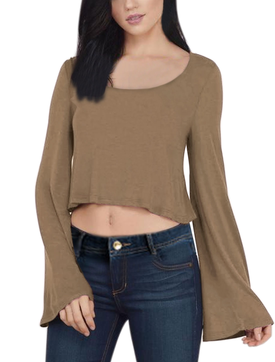 Women Scoop Neck Trumpet Sleeves Crop Top Brown M
