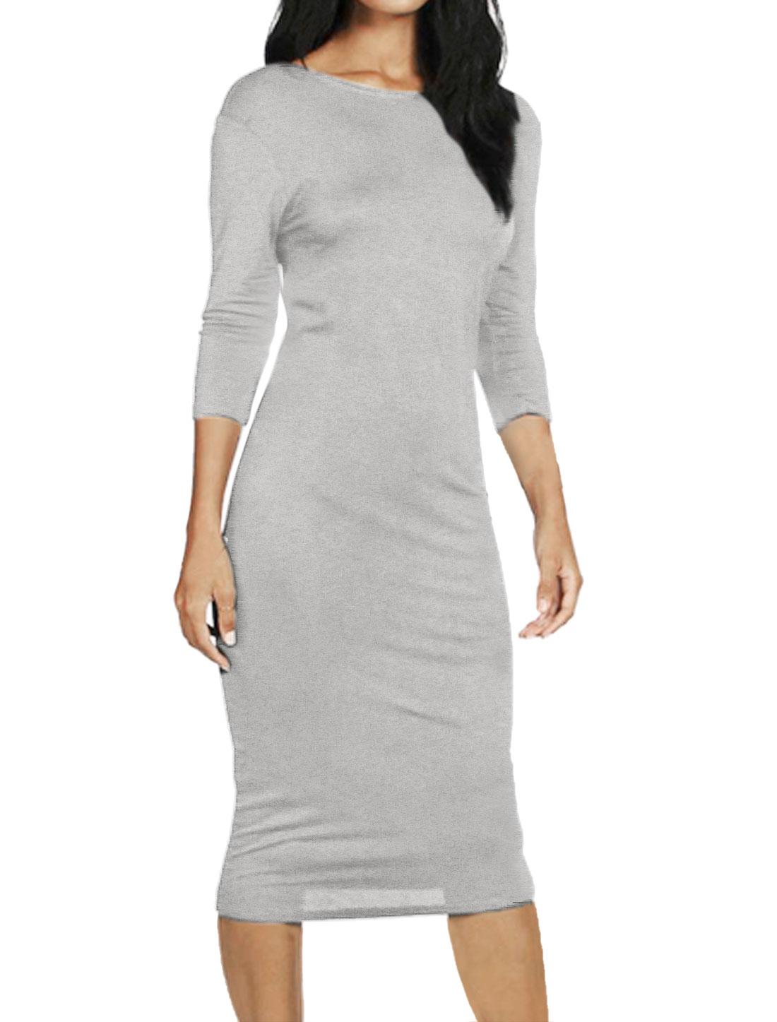 Women Bracelet Sleeves Open Back Bodycon Dress Gray M