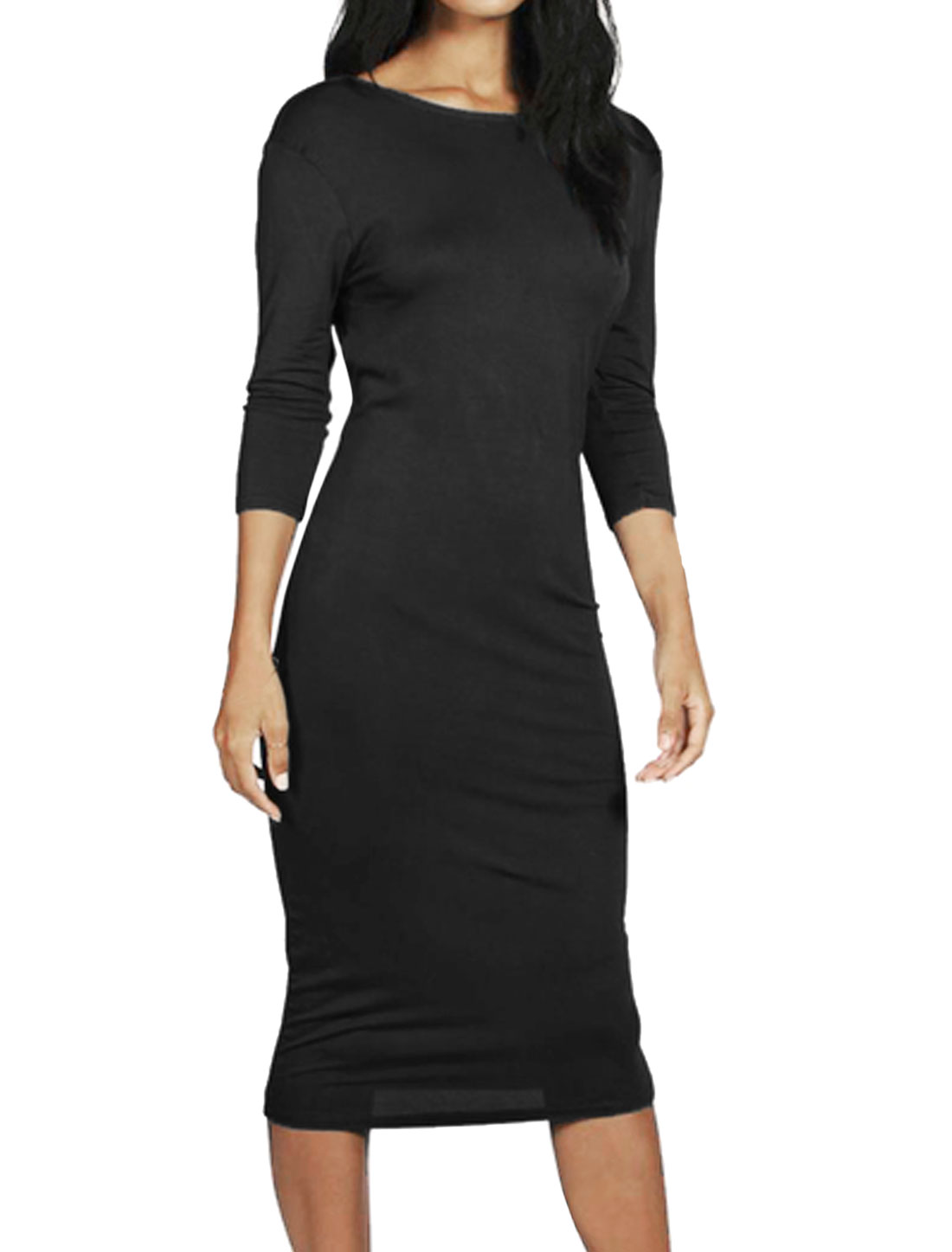 Women Bracelet Sleeves Open Back Bodycon Dress Black M