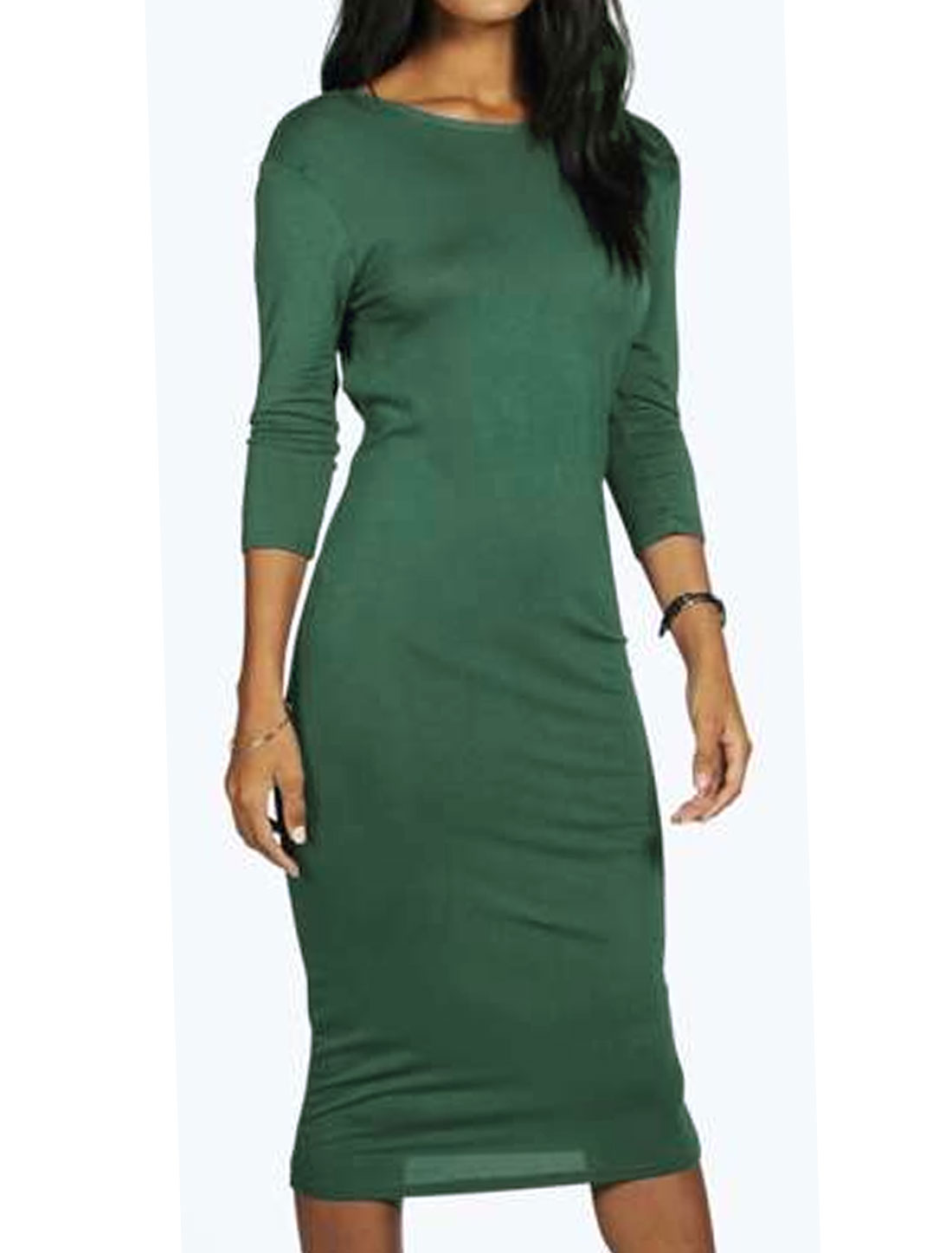 Women Bracelet Sleeves Open Back Bodycon Dress Green M