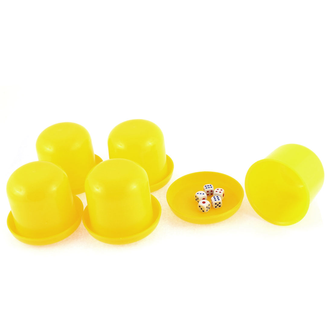 Pub Bar KTV Guessing Game Plastic Shaker Cup Case Yellow 5pcs w 25pcs Dices
