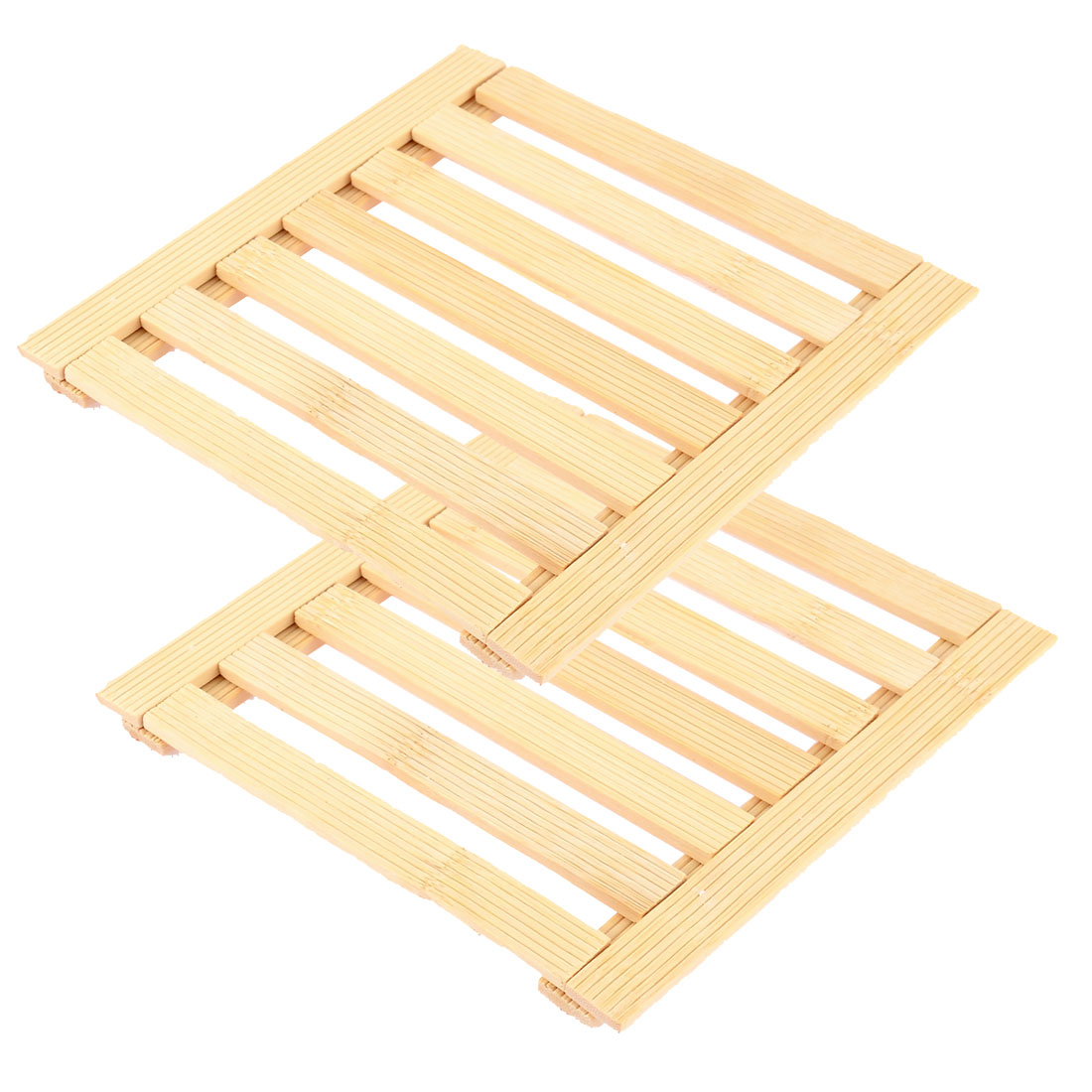 Kitchen Table Cup Bamboo Insulation Mat Coaster Wooden Color 17 x 17cm 2pcs