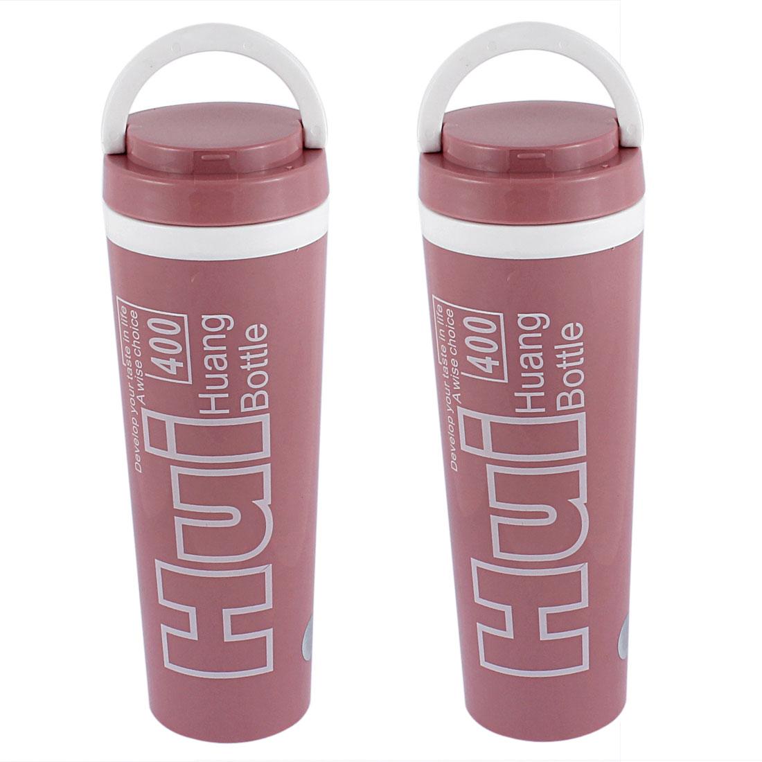 Plastic Insulated Heat Retaining Water Bottle Mug Vacuum Flask 400ml Light Pink 2pcs