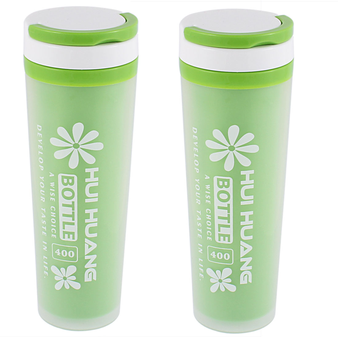 Water Tea Insulated Heat Retaining Bottle Cup Mug Vacuum Flask 400ml Green 2pcs
