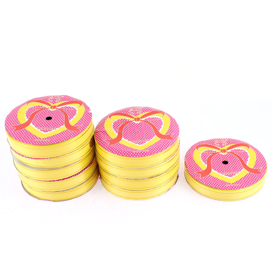 Wedding Festival Polyester Satin Ribbon Roll Tape Yellow 20m 22 Yards 10pcs