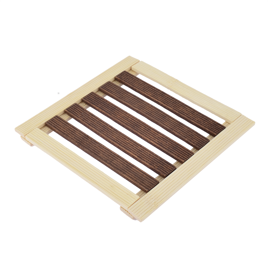 Kitchen Table Dishes Bamboo Insulation Mat Coasters Beige Brown 17 x 17cm