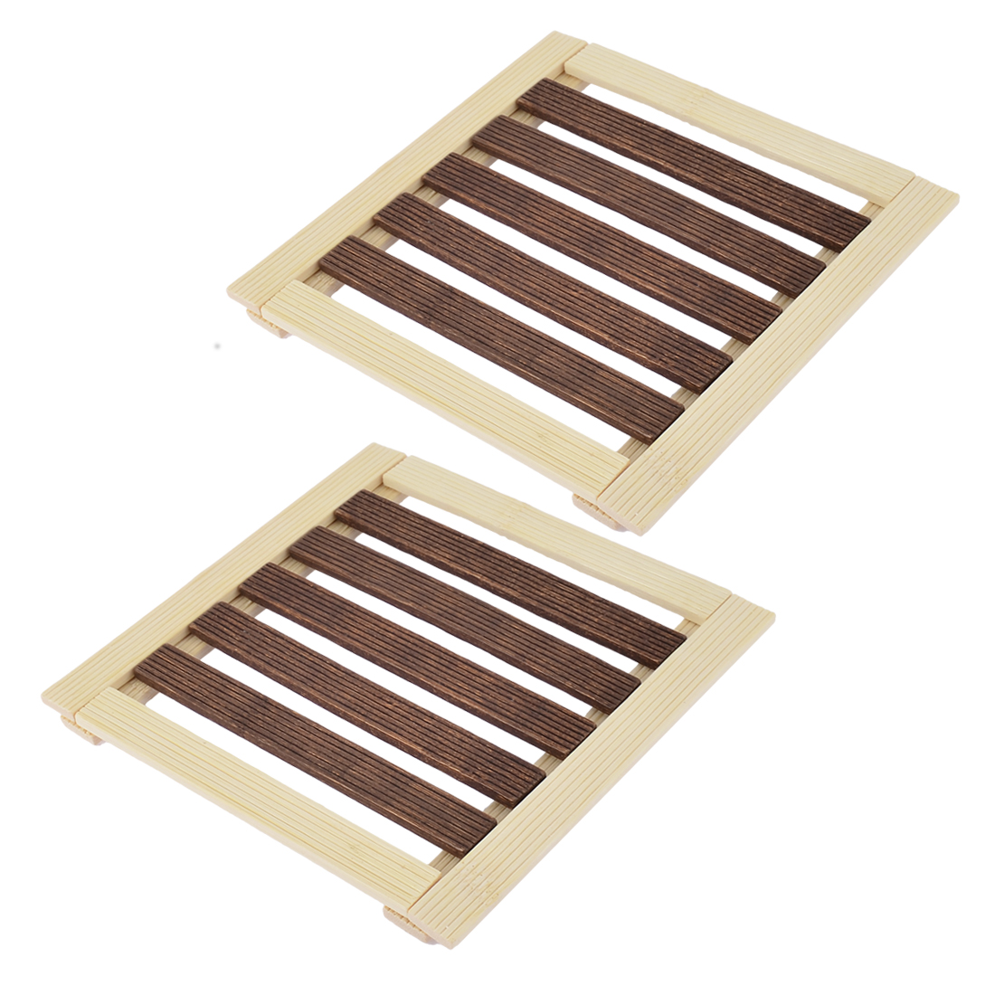 Home Table Dishes Plate Bamboo Insulation Mat Beige Brown 17 x 17cm 2pcs