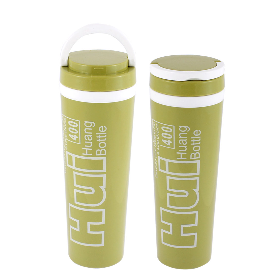 Plastic Water Insulated Heat Retaining Bottle Cup Mug Vacuum Flask 400ml Green 2pcs