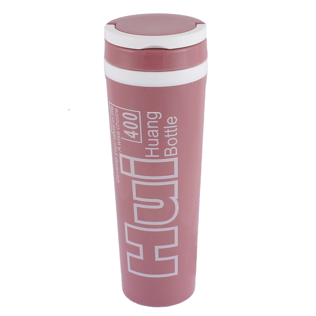 Water Letter Pattern Insulated Heat Retaining Bottle Cup Mug Vacuum Flask 400ml Light Pink