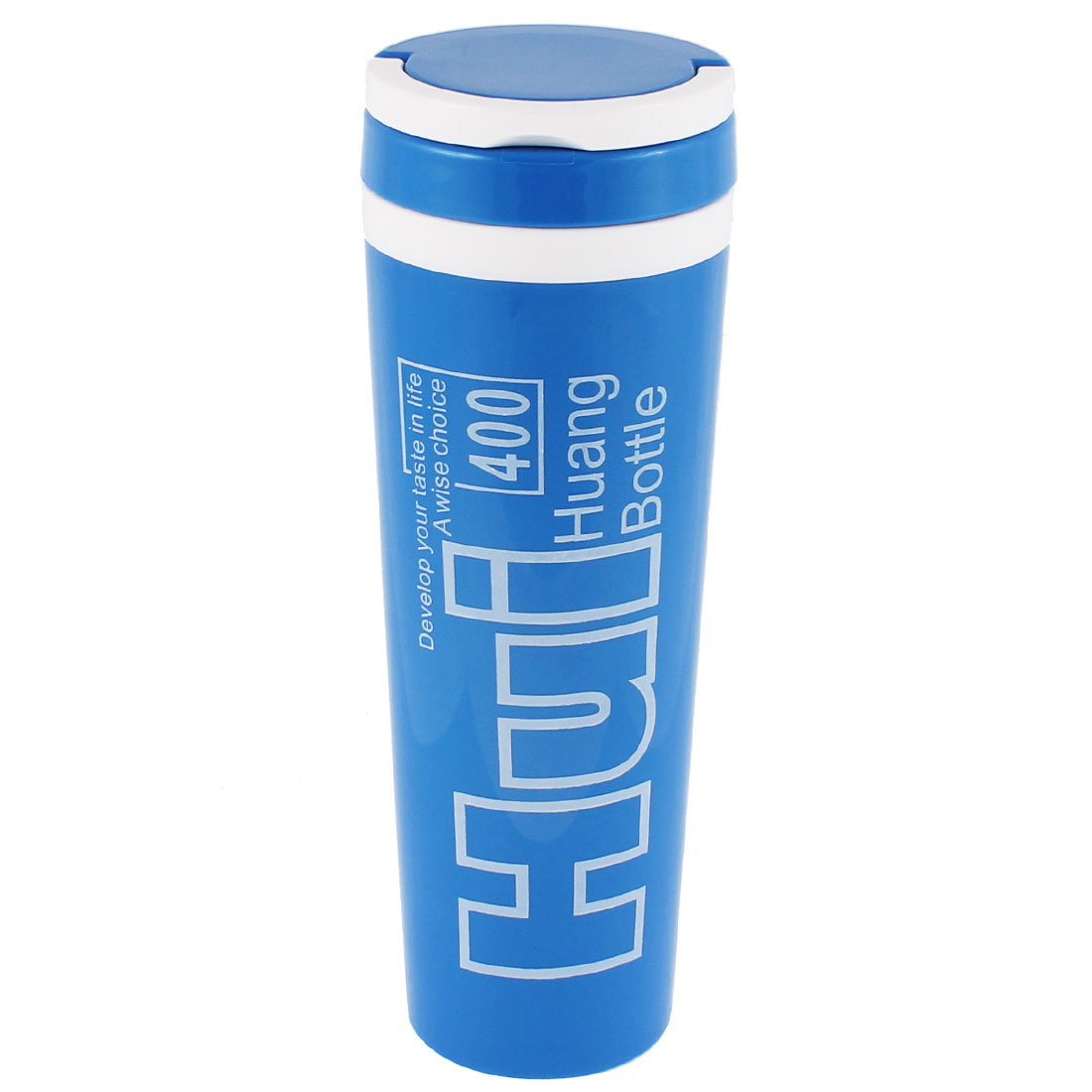 Water Letter Pattern Insulated Heat Retaining Bottle Cup Mug Vacuum Flask 400ml Blue